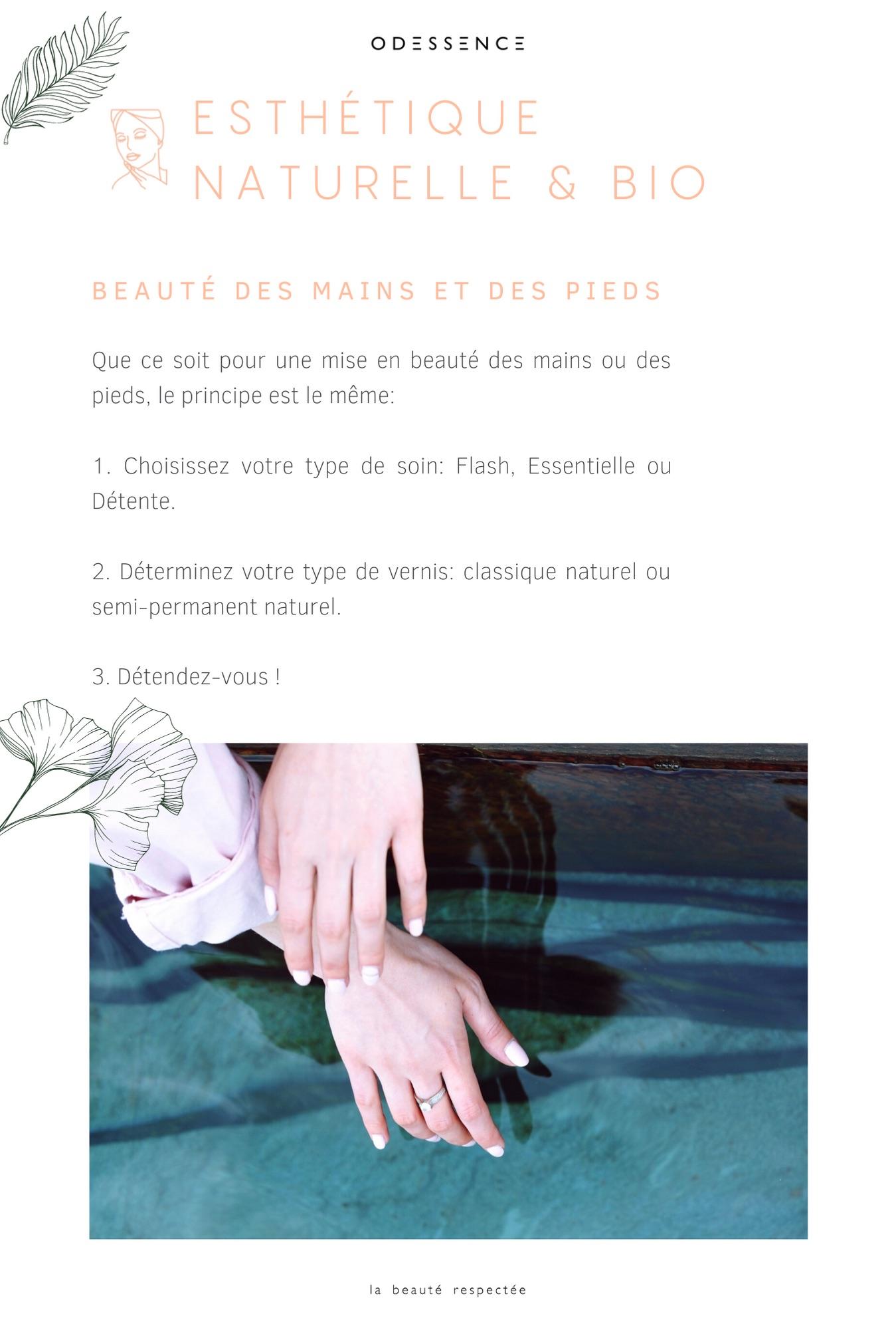 Carte des soins - Manucure bio - Odessence - Beauté naturelle & bio à Bordeaux