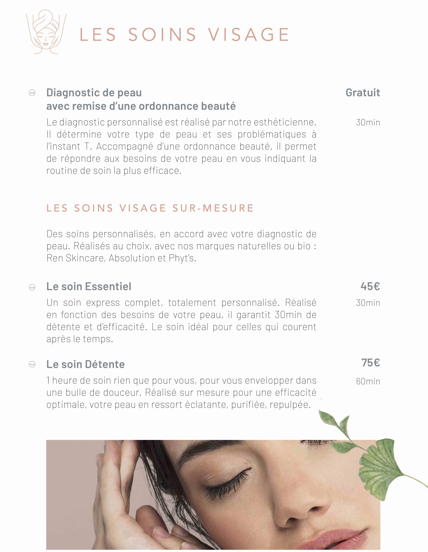 Carte des soins visage