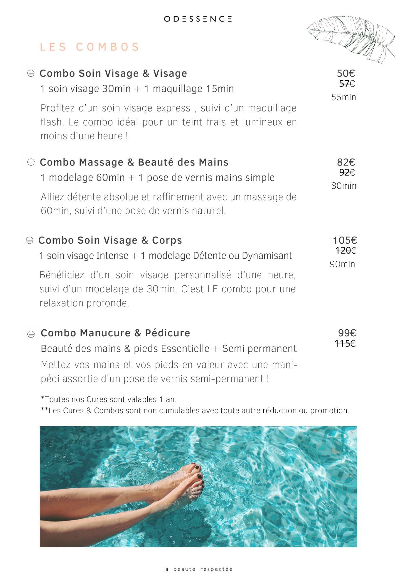 Carte des soins - cures & combos - Odessence - Beauté naturelle & bio à Bordeaux