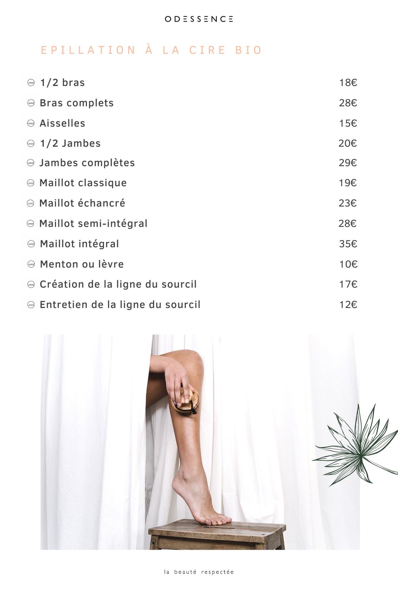 Carte des soins - épilations - Odessence - Beauté naturelle & bio à Bordeaux