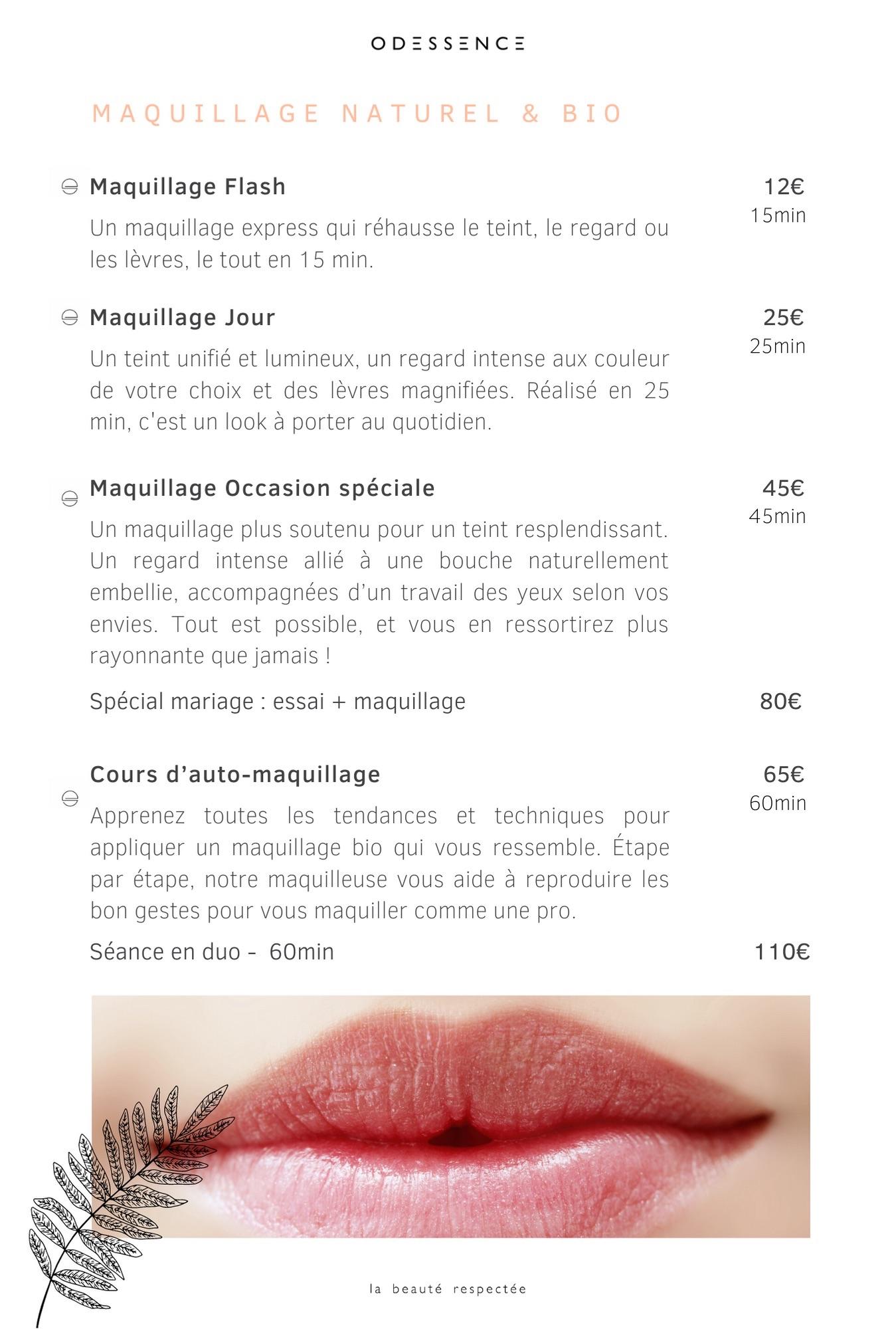 Carte des soins - Maquillage bio - Beauté naturelle & bio à Bordeaux